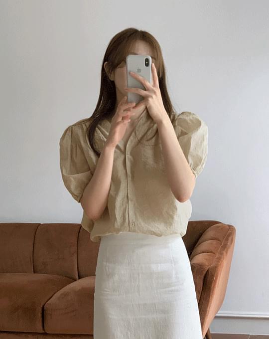 Winderbell V-Neck shirring blouse - 3 color