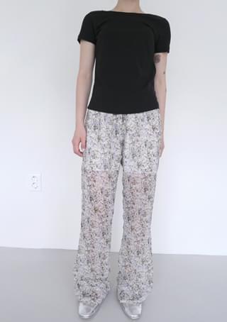 chiffon floral boots cut pants