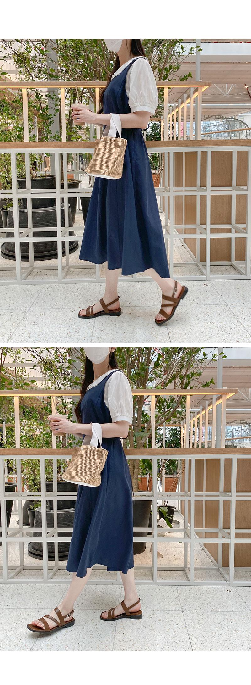 Big Size 66-120 Blossom Square Long Linen Dress