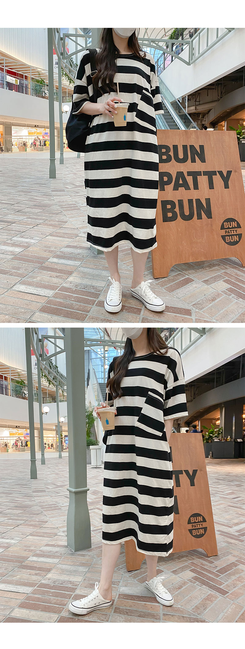 Big Size 55-99 Obni Stripe Long Pocket Dress