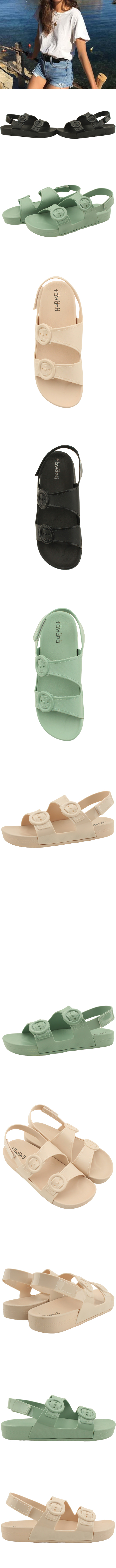 Soft Jelly Buckle Flat Sandals Beige