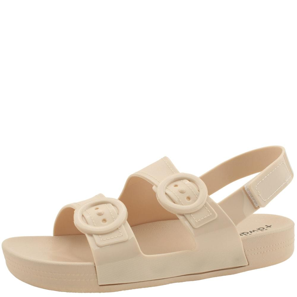 Soft Jelly Buckle Flat Sandals Beige 涼鞋