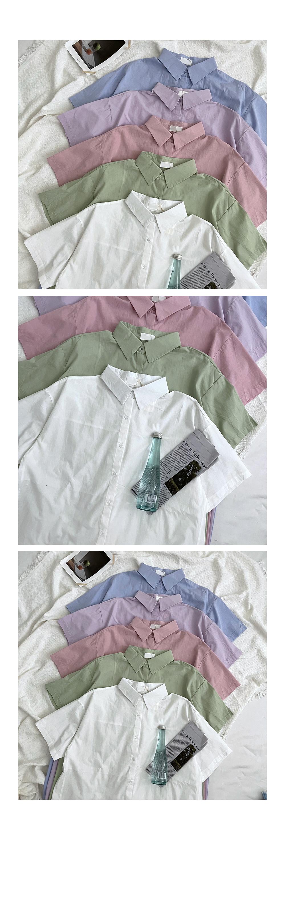 Pastel Short Sleeve Shirt Long Dress