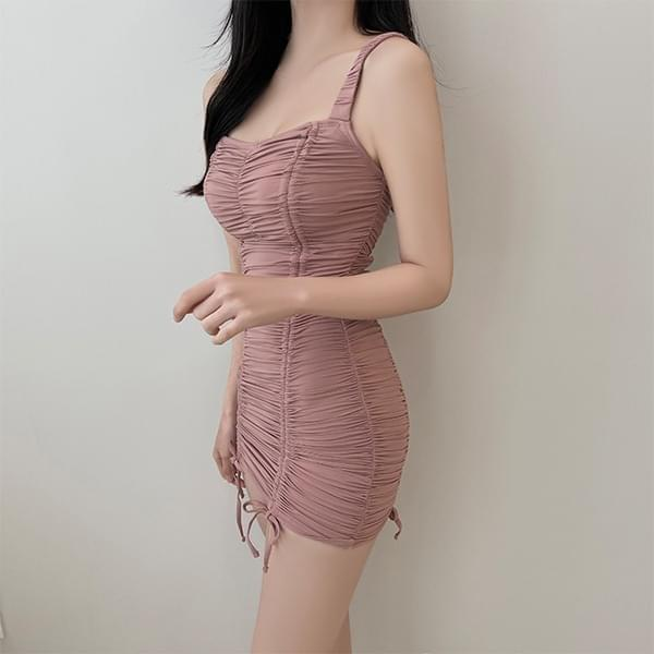 The most special, peach shirring Dress swimsuit 迷你短洋裝