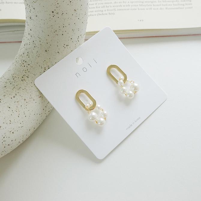 Shella pearl gold nickel-free stitching earrings