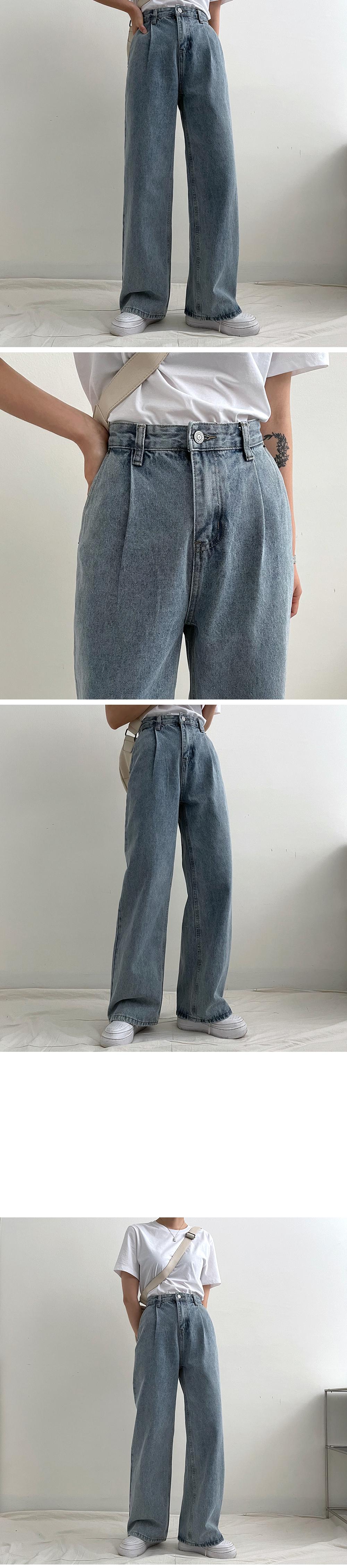 Randy Pintuck Wide Denim Pants