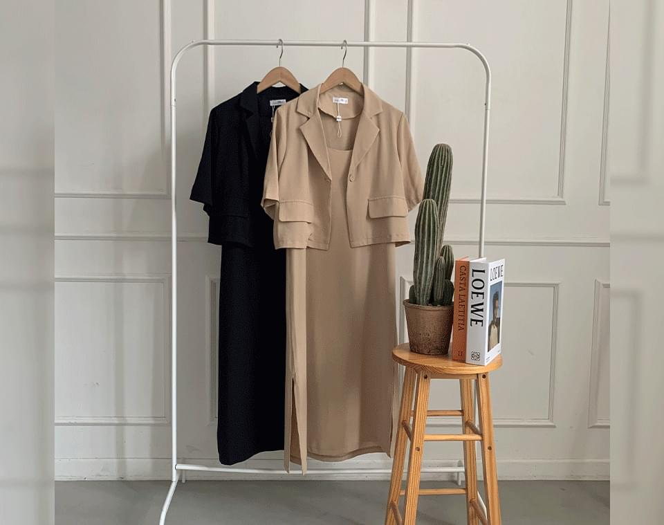 Nanabin Crop Jacket Dress Two Piece Set