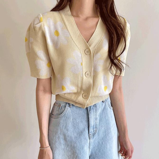 V neckline big flower sun cardigan