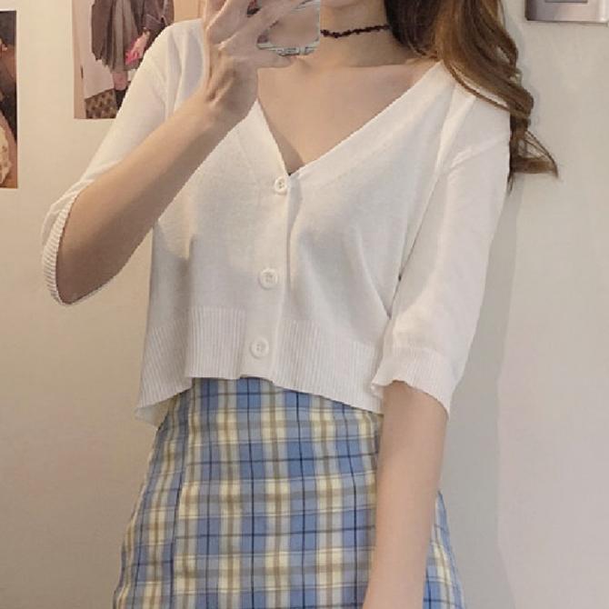 Summer color V-neck cropped short-sleeved cardigan