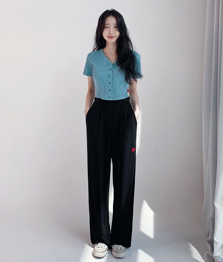 Heart Waffle Button Top Heart Daily Wide Pants (3 color)