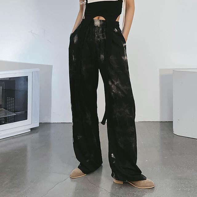 tie-dye circle wide pants