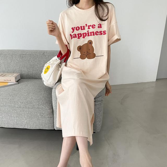 Big Size 55-88 Happy Bear Long Dress