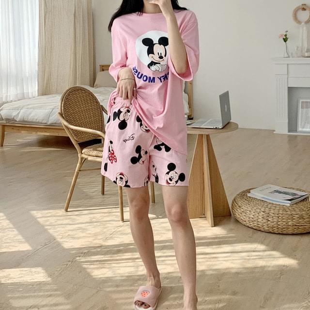 Big Size 55-88 Oldie Mickey Minnie Pajama Set