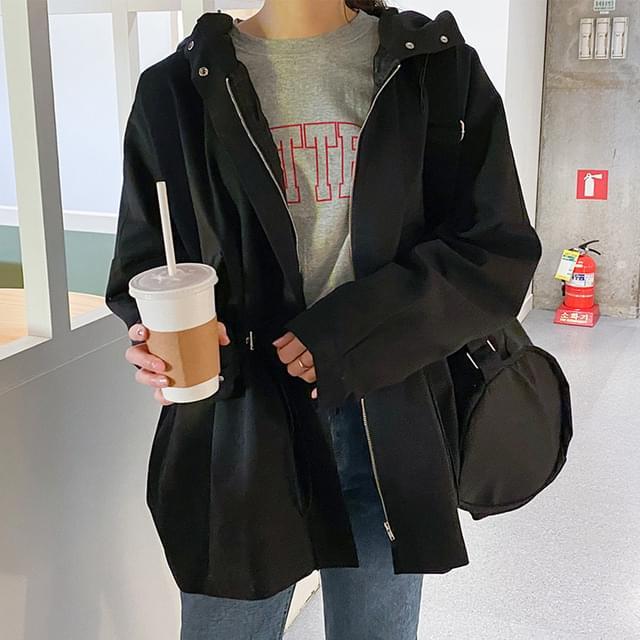 Big Size 55-120 Amel String Hooded Field Jacket