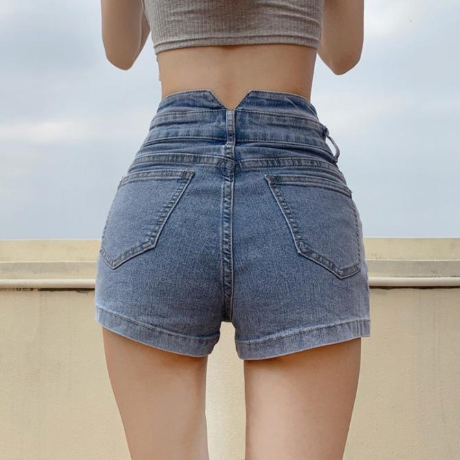 High Waist Denim Line Fit Short Pants