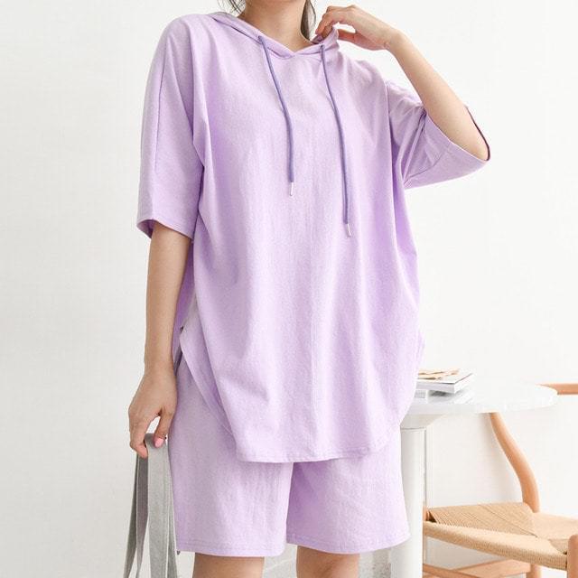 String Hooded T-shirt Part 5 Banding Shorts Set Big Size