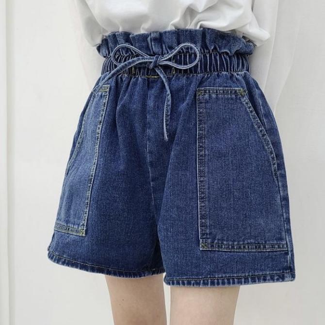 Casual Waist Shirring Ribbon Denim Shorts