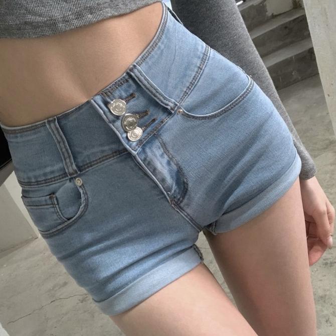 Spandex Slim Real Fit Button Denim Short Pants