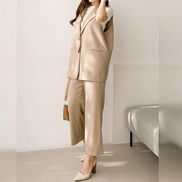 Wide Slacks Collar Vest Best Suit Set Big Size XL-3XL 77-120