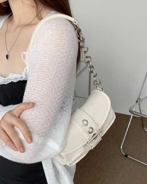 Butter Eyelet Belt Pocket Chain Leather Shoulder Bag