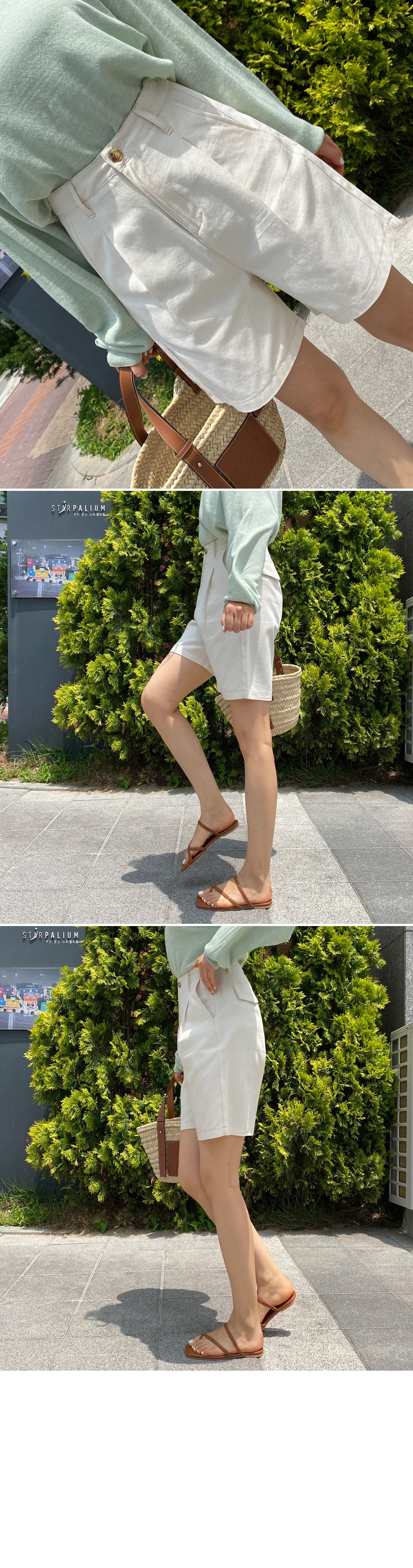 Summer Pintuck Cotton Part 4 Cotton Shorts