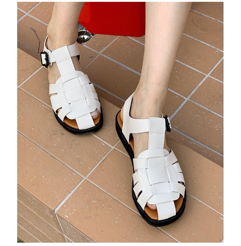 bold braid buckle sandals
