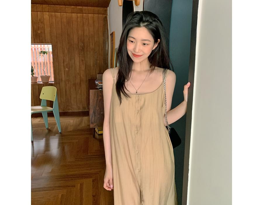 Cooling Wrinkle Button Slip Dress