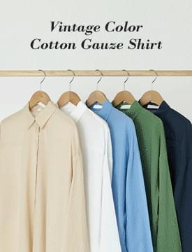 Vintage color cotton gauze shirt