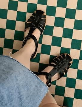 buckled leather gladiator sandals