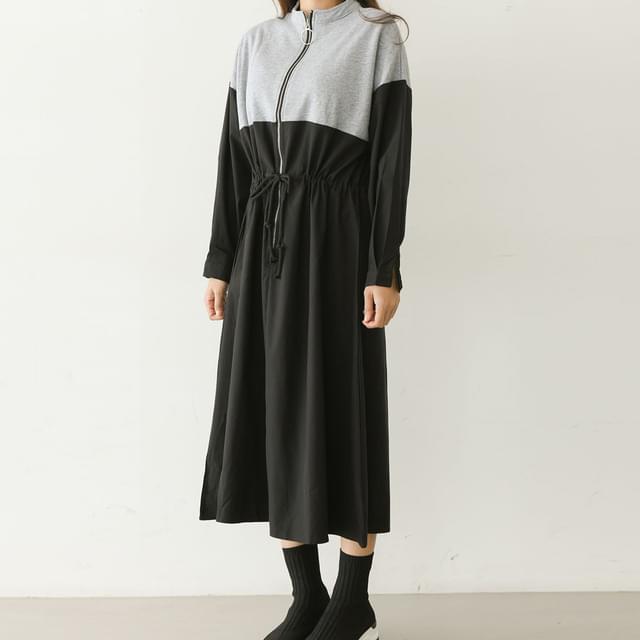 Waist String Anorak Zip Up Long Dress Big Size 66-99