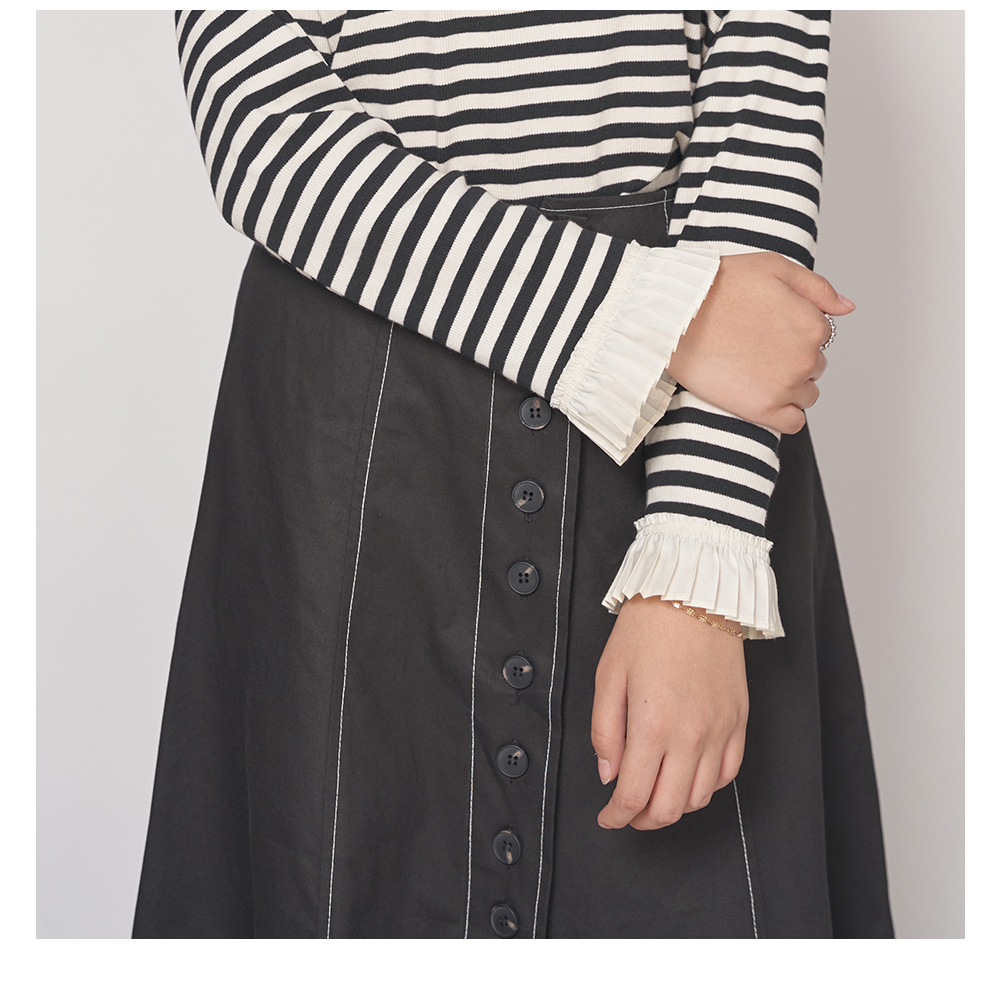 Pintuck Pleated Sleeve Striped T-shirt Big Size 66-120