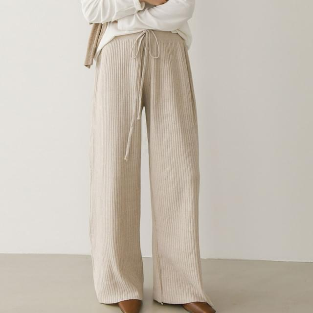 Wide Ribbed Knitwear Trousers