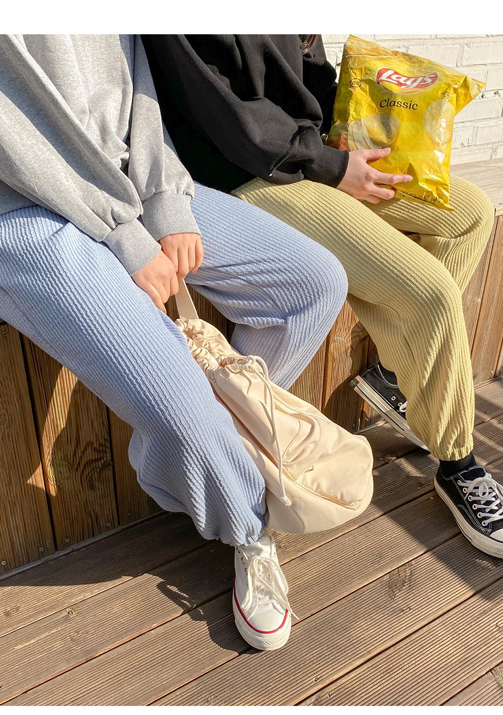 Big 26-38 inch Creamy Ribbed Banding Jogger Pants