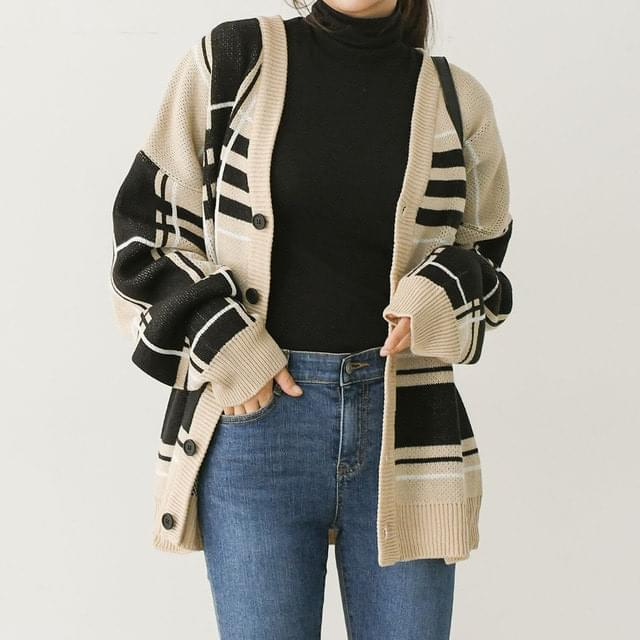 Loose-fit Fit Modern Check Cardigan Big Size 66-120