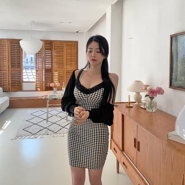 Die Check Lace Slim Fit Dress