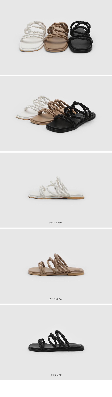fanned twist strap slippers