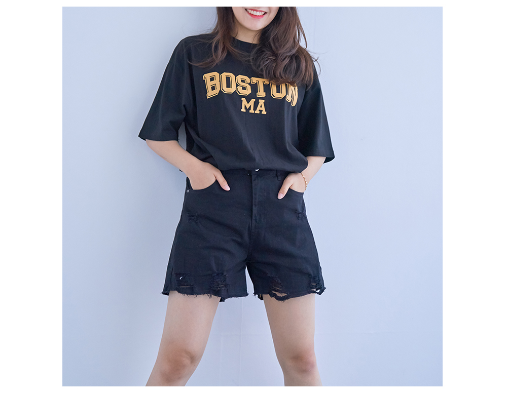 Boston Lettering Loose-fit Cotton T-shirt Big Size Bust 120