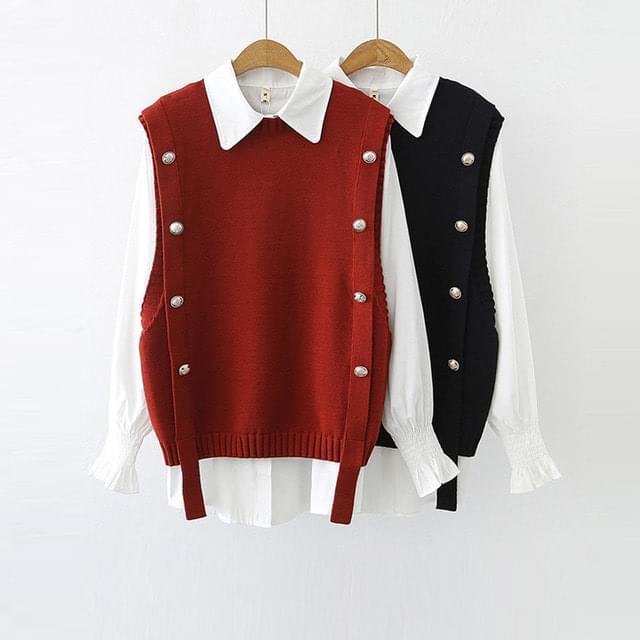 Big Size 55-120 Ramy Button Vest Shirt Set