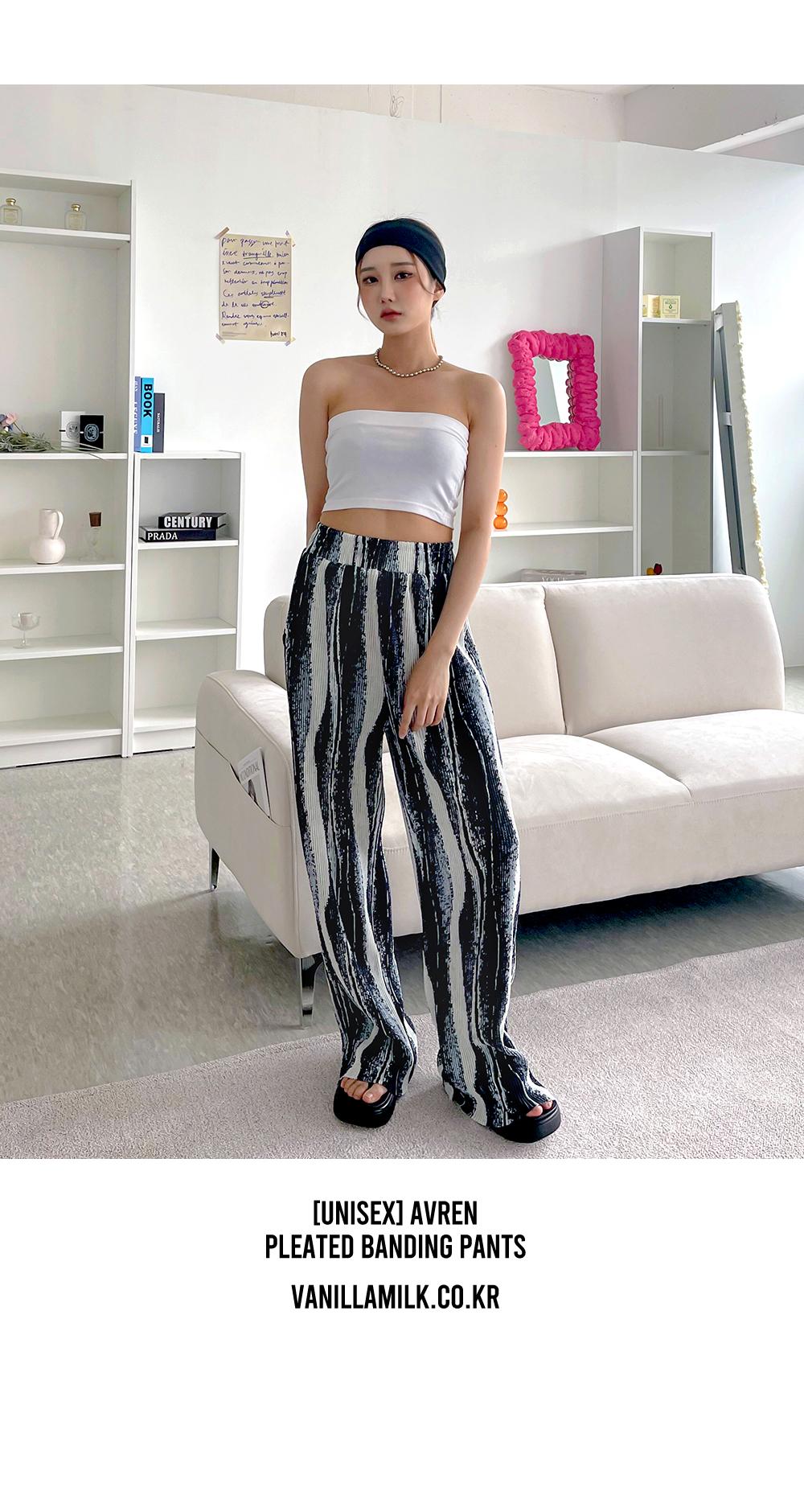 Abren pattern pleated banding trousers