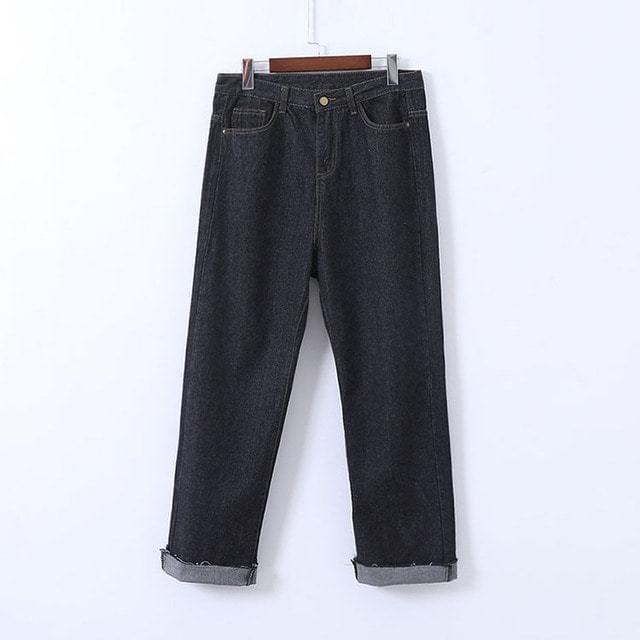 Black Raw Roll Up Jeans Big Size XL-4XL 28-40 Inch