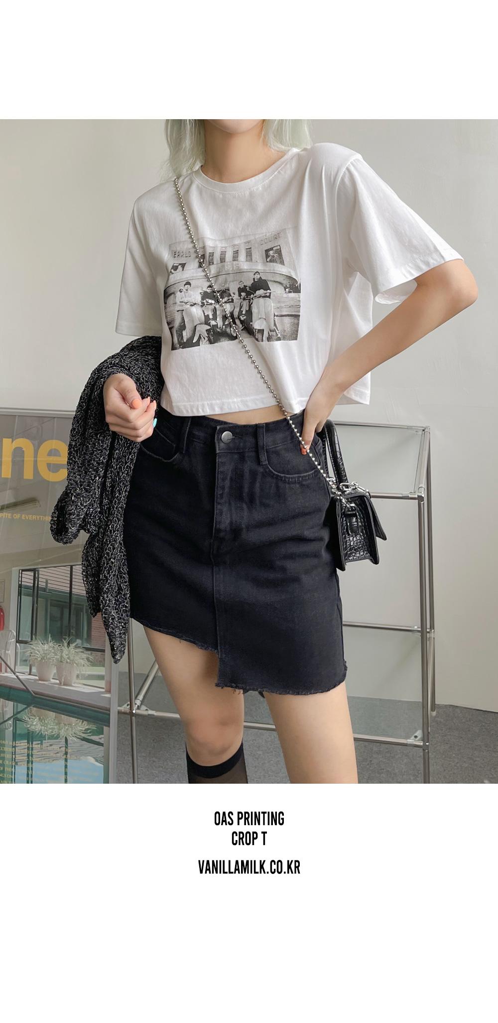 oras print cropped short sleeve T-shirt