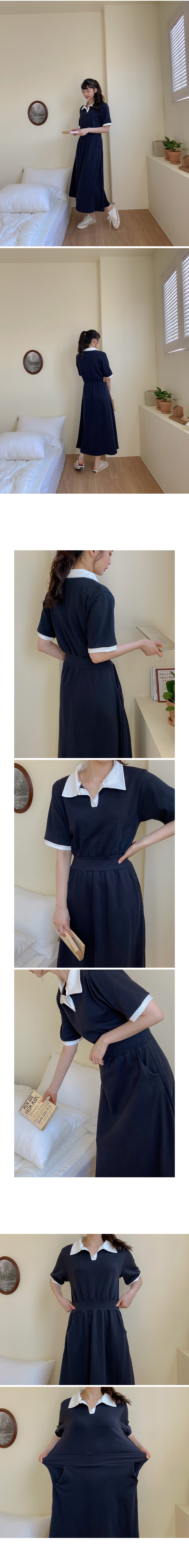 Touch Color Collar Long Dress