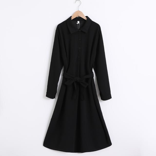 Black Belt Collar Shirt Flare Dress Big Size XL-4XL 77-120