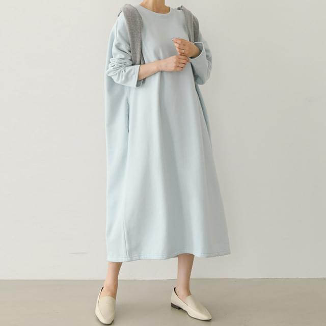 Fleece-lined Side Pockets Overfit Long Dress