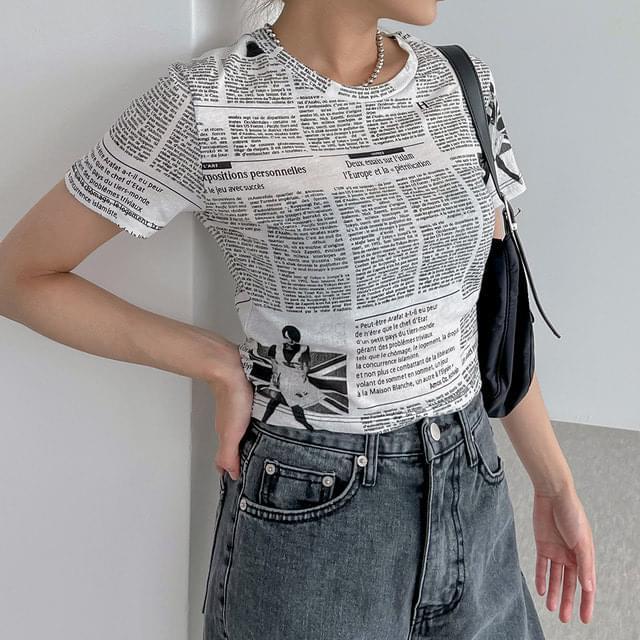 Charon Paper Short Sleeve Crop T-shirt