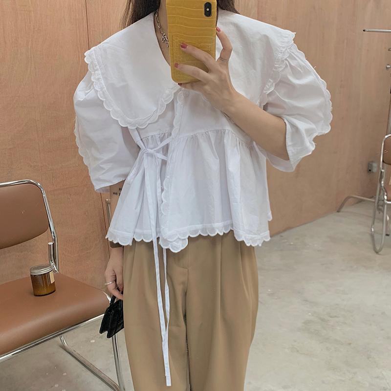 nb4873 Bayro Lace Wrap Puff Shirt