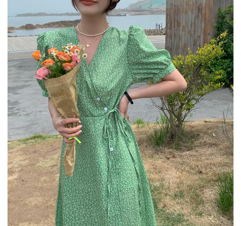 op4802 leish v- V-Neck wrap Dress