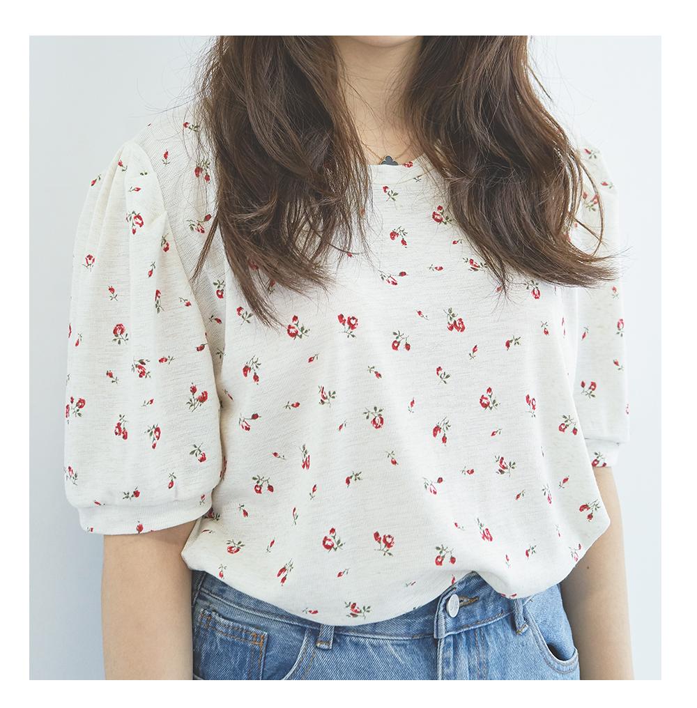 Linen Flower Puff Shirring Ivory T-shirt Big Size 66-120