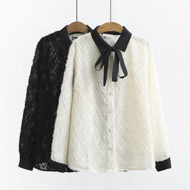 Color Matching Ribbon Sasha Jacquard Collar Shirt Blouse Big Size XL-3XL 77-120