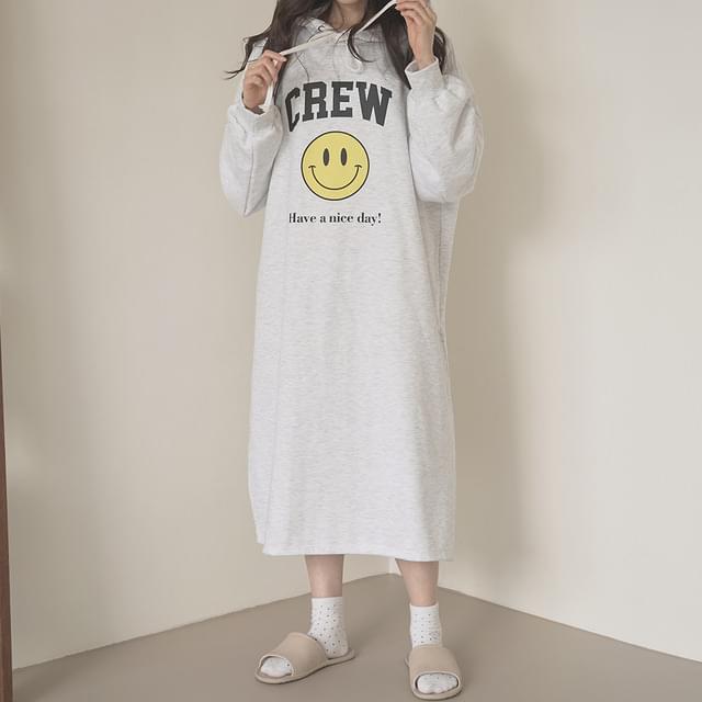 Smile Fleece-lined Hooded Long Dress